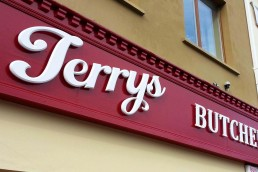 Terrys Butchers - Raised 3D Lettering