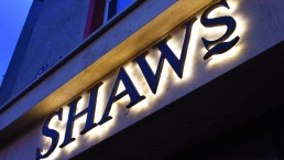 Shaws - Backlit LED Raised Lettering with Halo Effect