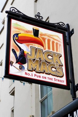 Jack Mac's Pub - Projecting Sign with Frame