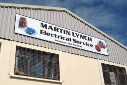 Martin Lynch Electrical Service - Aluminium Signage on Cladding